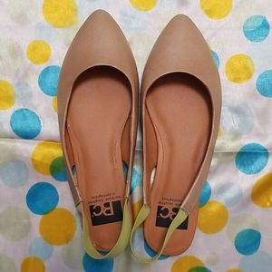 Tan beige sling back flats sandals ballet